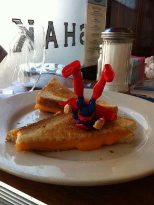 """Superman at a """"dive"""" diner"""
