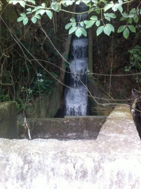 Gray-water waterfall.